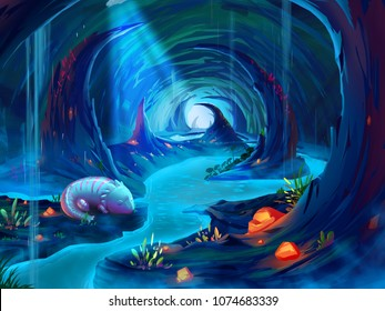 A Giant Salamander in the Cave with Fantastic, Realistic and Futuristic Style.  Concept Illustration, Realistic Cartoon Style Scene Design