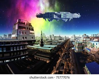 Giant Spaceship over Alien Metropolis