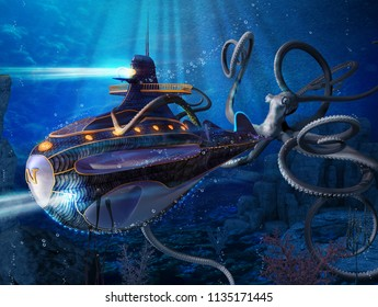 A giant squid attacks the Nautilus of captain Nemo, a scene from Jules Verne's novel 20000 Leagues Under the Sea. 3d render painting