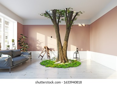 giant tree in the room,breaking the ceiling.3d rendering creative concept