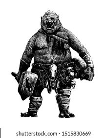 Giant troll with hammer. Fantasy silhouette drawing. Cannibal on the hunt.