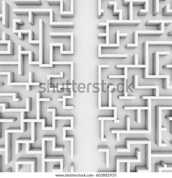 巨大な白い迷路構造 簡単な経路で迷路を通る構造 3dイラスト のイラスト素材