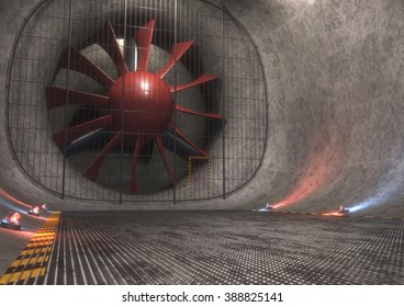 Giant wind tunnel with steel floor, tracks and safety lights. 3D concept image.