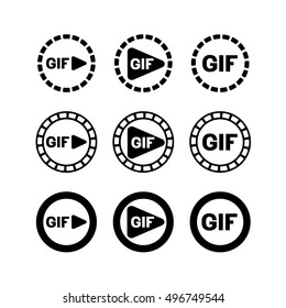 GIF animation play icon. Film with frames around. Play button symbol.