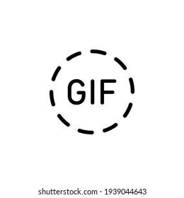 Gif icon black - simple illustration