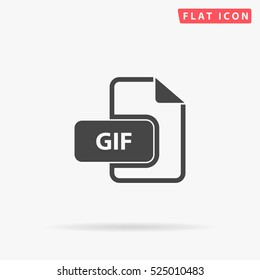 GIF Icon Illustration. Flat simple grey symbol on white background with shadow