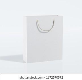 Gift bag made from designer paper. 3D illustration