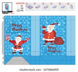 gift bag with two santa clauses for christmas.stock image picture. stock image picture