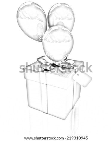 Gift Box Balloon Summer On White Stock Illustration 219310945
