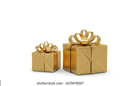 Gift box with bow isolated on white background. 3D illustration.