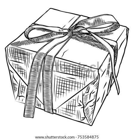 Gift Box Doodle Sketch Wedding Birthday Black Friday Concept Wrapped For
