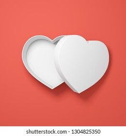 Gift box in heart shape in coral tones. Valentine concept. 3D illustration.