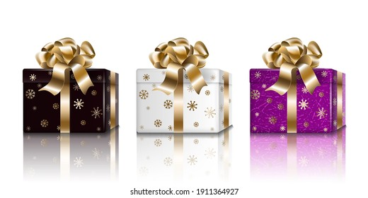 Gift box Holiday New Year set. Black white purple 3d realistic surprise boxes for design, isolated on light background, raster.