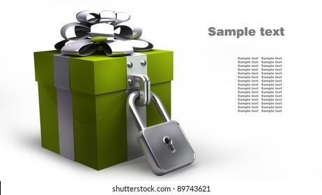 Gift box with the lock isolated on white background High resolution. 3D image