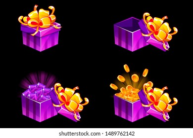 Gift box open and closed. Cartoon isometric Gift with coins and gems, bonus icons for UI game resources. Similar JPG copy
