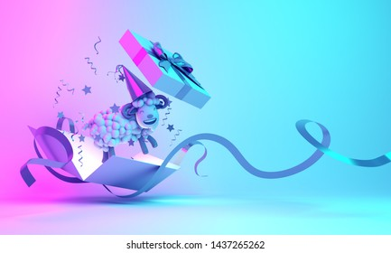 Gift box opened, confetti and a cartoon sheep on blue pink gradient background. Design creative concept of islamic celebration eid al adha or happy birthday. 3d rendering illustration.