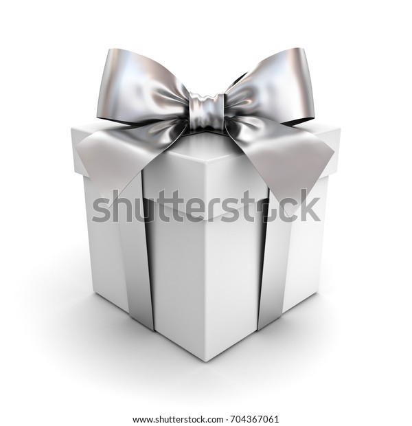 Gift box or present box with silver ribbon bow isolated on white background with shadow . 3D rendering.