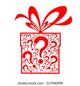 Gift box with a question mark. Illustration