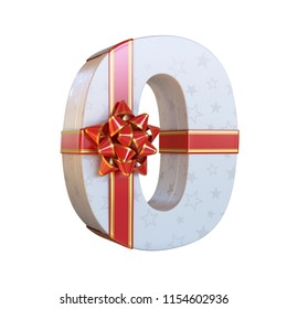 Gift box with red ribbon bow 3d font, present alphabet 3d renderinf, number 0