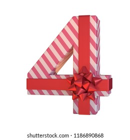 Gift box with red ribbon bow 3d font, present alphabet 3d renderinf, number 4
