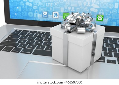 Gift box with ribbon on laptop keyboard. 3d rendering.