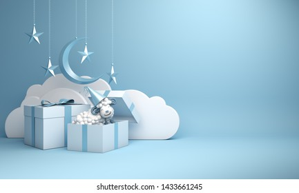 Gift box, sheep, crescent moon, star on studio lighting blue pastel background. Design creative concept of islamic celebration eid al adha or happy birthday. 3d rendering illustration.