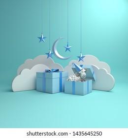 Gift box, sheep, crescent moon, star on studio lighting blue pastel background. Design creative concept of islamic celebration eid al adha or happy birthday. 3d rendering illustration.