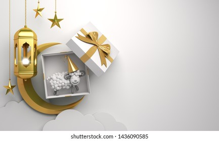 Gift box, sheep, crescent moon, star, cloud, gold arabic lamp on studio lighting white background. Design creative concept of islamic celebration eid al adha or happy birthday. 3d  illustration.