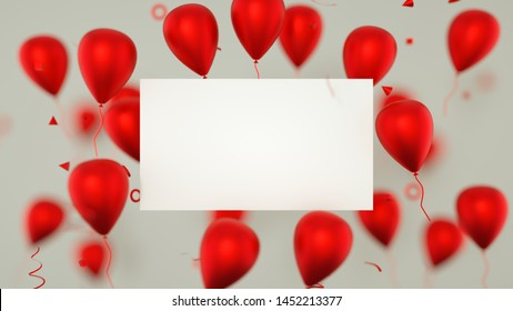 Gift card, birthday card with balloons. A balloons banner sign with party balloons. 3D Rendering.