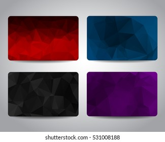 Gift card or discount card set with colorful backgrounds. Red, black, blue and purple colors. Merry Christmas and Happy New Year festive gift cards design