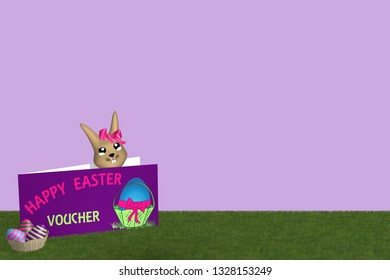 Gift card with easter bunny and easter basket on green meadow with purple background. 3d rendering