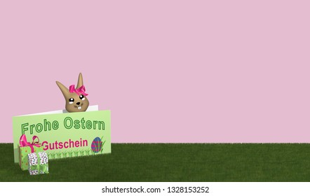 Gift card with Easter bunny and presents on green meadow. With text in german: Happy Easter and voucher. 3d rendering