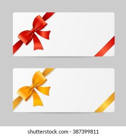 Gift Card Template with Res and Gold Ribbon. illustration
