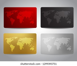 Gift cards or discount cards or credit cards set with world map on red, black, gold, silver background. Electronics shop, technologic, travel agency discount voucher, coupon or gift cards design