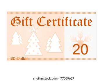 gift certificate 25 dollar christmas gift stock illustration