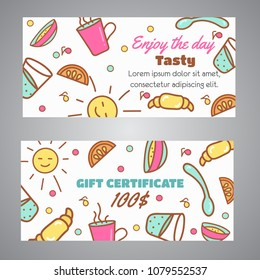 Gift Certificate text. Enjoy the Day slogan. Cafe, bakery concept business card, voucher. Coffeee and tea design Line icons