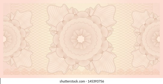 Gift certificate, Voucher, Coupon template (layout) with guilloche pattern (watermark). Background for banknote, money design, currency, note, check (cheque), ticket, reward. Vector available