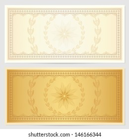 Gift certificate, Voucher, Coupon template. Guilloche pattern (watermark), border. Background for banknote, money design, currency, cheque, note, check, ticket. Cold color. Vector in Portfolio