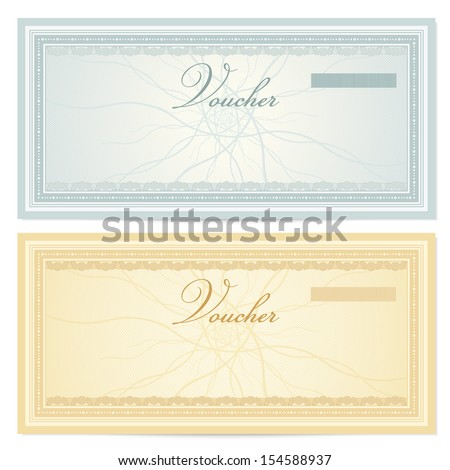 Gift Certificate Voucher Coupon Template Guilloche Stock