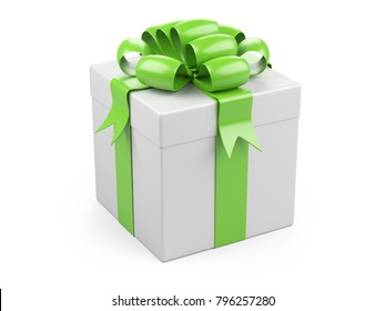 Gift christmas box with big green bow. Isolated on a white background 3d illustration.