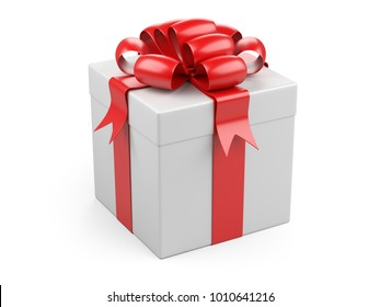 Gift christmas box with big red bow. Isolated on a white background 3d illustration.