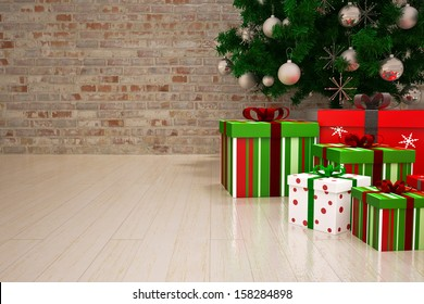 Gift christmas boxes under Christmas tree