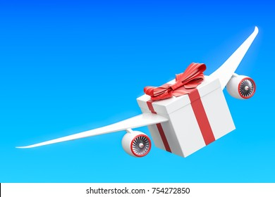 Gift delivery concept. Gift box with wings flying in the sky, 3D rendering isolated on white background