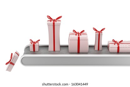 Gift factory.  Pretty wrapped gift boxes on conveyor belt. Isolated on white.
