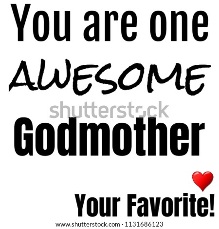 Gift God Mother Awesome Text Image Birthday Stock Illustration