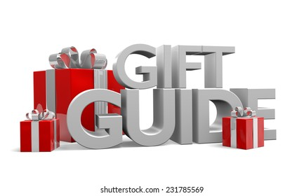 Gift guide text and three red Christmas gifts wrapped in silver ribbons