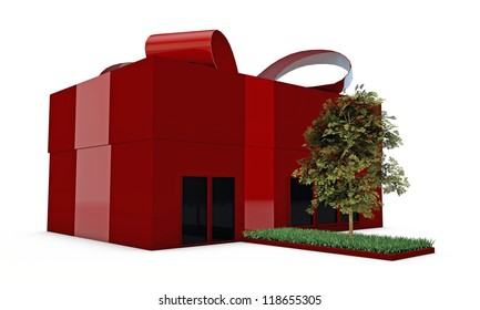 gift house with red ribbon isolated on white background