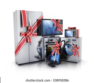 Gift modern consumer electronics, Fridge, washer, tv, microwave and electric-cooker. 3d illustration