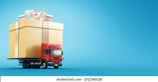 Gift on camion, birthday, shipment, 3d render illustration