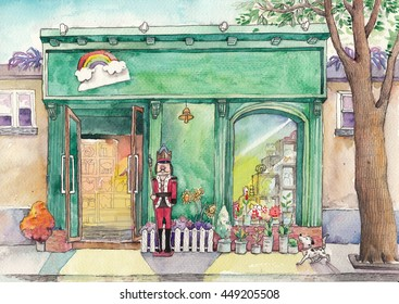The Gift Shop. Watercolor Artwork